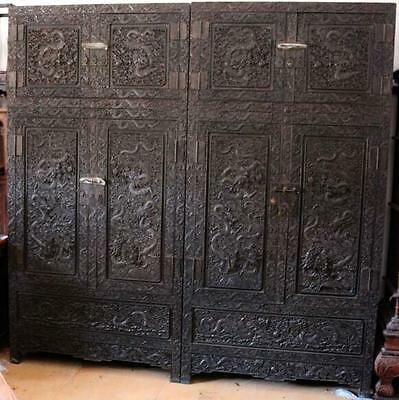 Pair of zitan rosewood carved Chinese Cabinets