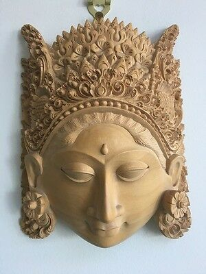 Balinese Wood Carving - Mask of a Woman - makes a great Xmas gift ! - looks new!