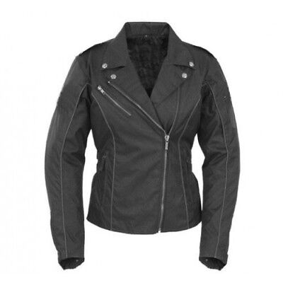 Women's Black Textile Motorcycle Jacket Waterproof Removable Armour Size 4-24