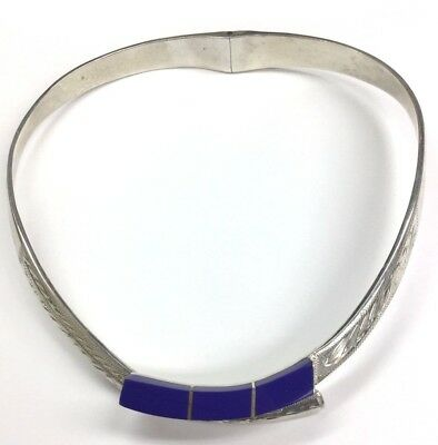 Vintage Sterling Silver 925 Blue Lapis HEAVY Statement Choker Collar Necklace