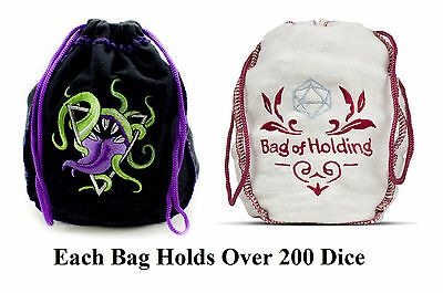 Bag of Devouring Dice Bag & Bag of Holding Dice Bag - Each Holds 200+ Dice - RPG