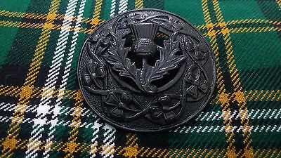 Men's Kilt Fly Plaid Brooch Thistle Crest Black/Scottish Fly Plaid Brooches 3""
