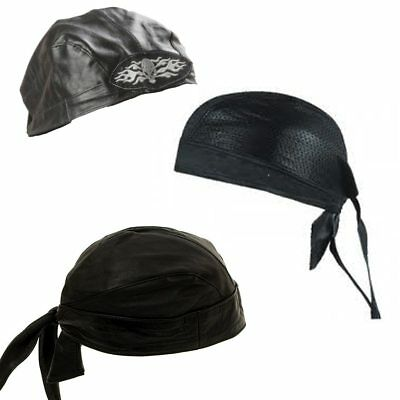 Bandana Leather Motorcycle Skull Cap Biker Do Rag