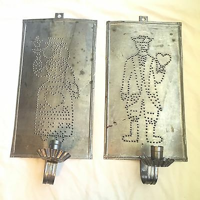 Vintage Rustic Punched Tin Wall Hanging Candle Holders Sconces Galvanized Metal