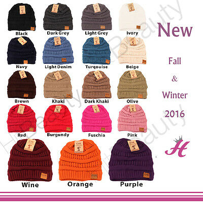 BEANIE New Women Cable Knit Super Cute Beanie Thick Cap Hat Unisex Slouchy Ho