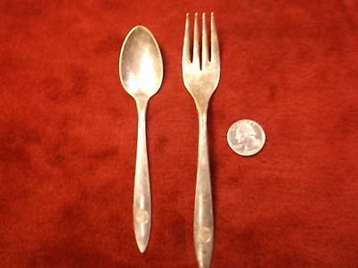 """Nice Pair Of Old Vtg """"pan-Am"""" Airlines Silverplated Flatware Service Spoon--Fork"""