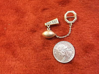 Pair Of Rare Old Vtg Antique Rose Gold Brooches/pins & Solid Football Charm, Vgc