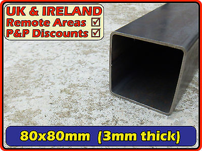 Mild Steel Square Tube (box iron ,section, post) | 80x80mm (80mm) 3mm | metre ft