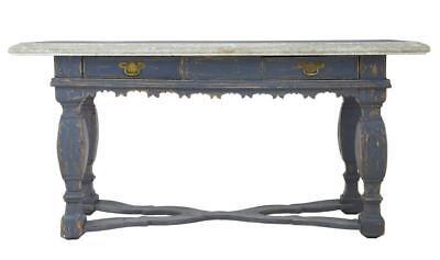 Rare 19Th Century Swedish Pine Marble Top Table