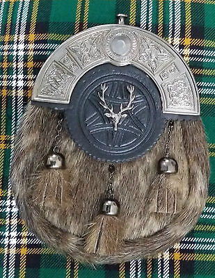 New Full Dress Kilt Sporran Formal Seal Skin Celtic Cantle Antique Lion Rampant