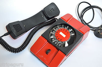 vintage TELKOM A-271 corded rotary dial TELEPHONE 80s 1988 red plastic