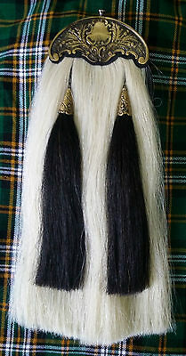BAGPIPE PIPER KILT SPORRAN/SCOTTISH WHITE HORSE HAIR Kilt SPORRAN ANTIQUE CANTLE