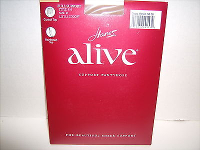 7390054a6f5 Vintage Hanes ALIVE Full support Pantyhose Little Color CONTROL TOP SZ D