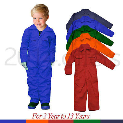 Poly cotton Unisex Childrens Kids royal green Coveralls Overalls kids dungarees