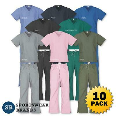 10 x Ladies Top Pants Scrubs Set Nurse Doctor Medical Uniform Vet Dentist Health
