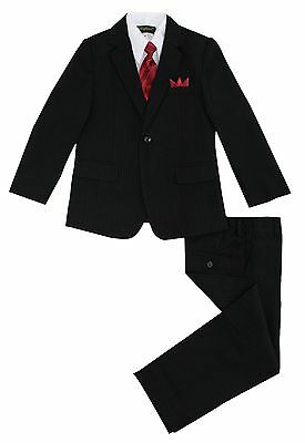 Boys Black Pinstripe Suit 5 Pieces Set with Vest and Tie Size 2T-14 Two Button