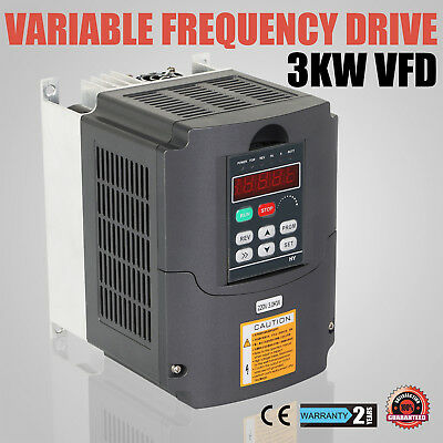 4HP 3KW Variable Frequency Drive VFD VSD Single Phase Speed Inverter 13A 220V