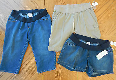 NEW Maternity clothes Large Lot Under Belly Capri Pant Shorts $128 Summer NWT L
