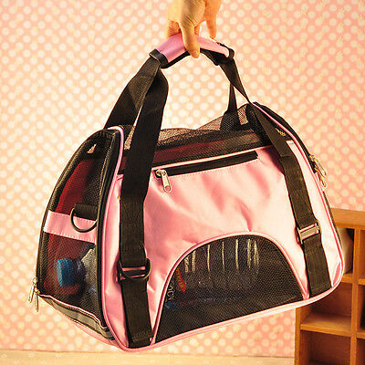 Pet Carrier case Soft Sided Large Cat Dog Comfort Blue/ Pink Bag Travel Approved