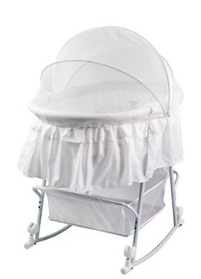 Dream On Me Lacy Protable 2 in 1 Bassinet and Cradle, White