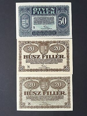Hungary 20 & 50 Filler P43 P44 3 x Banknotes Dated 1920 Uncirculated UNC aUNC