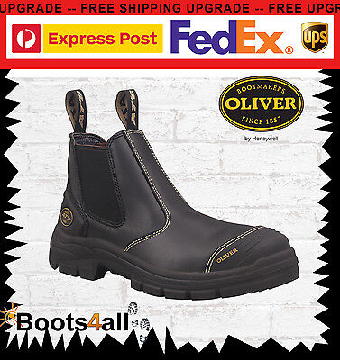 Oliver AT's Work Boots Elastic Sided Black Safety/Steel Toe 55320