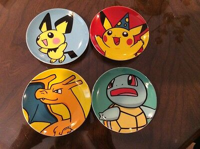 "Pokemon Collectible Plates- 5"" Diameter Set of 4- New in Gift Box! RARE"
