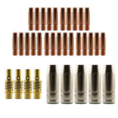 Mig MB15 Conical LH 35 Piece KIT- 0.6mm - Binzel Style - Shroud - Contact Tip SB