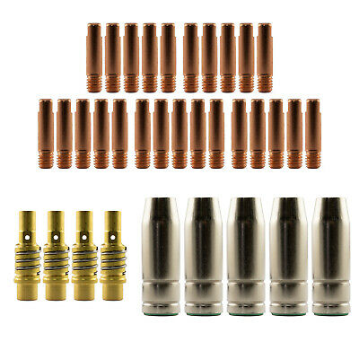 Mig MB15 Conical LH 35 Piece KIT- 1.0mm - Binzel Style - Shroud - Contact Tip SB