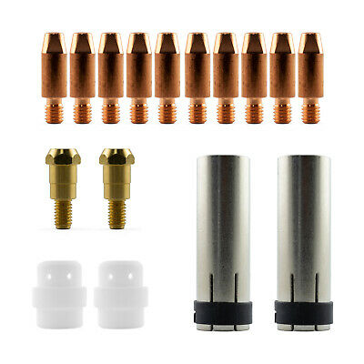 Mig MB24 16 Piece KIT- 1.0mm - Binzel Style - Shroud - Contact Tip - Nozzle SB24