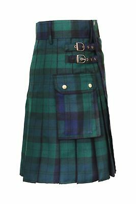 New Scottish Mens black watch Kilt poly viscose tartan men Utility kilts