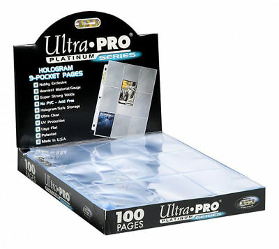 10 X Ultra Pro Platinum Trading Card 9 Pocket 3 Holes Afl&pokemon Sleeves