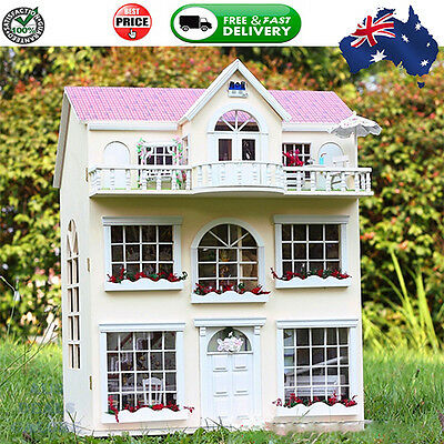 Large 3 Story 24th Scale DIY Wooden Handcrafted Miniature Doll house Handmade