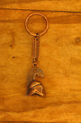 Ancient Greek Themed Keyring - Athenian Helmet Tall Crest Bronze Zamac