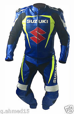 BLUE SUZUKI Motorcycle Racing Leather Suit Motorbike Mens Leather Jacket Trouser