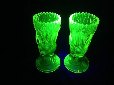 Stunning Rare Pair Of Antique John Derbyshire Green Uranium Glass Hand Vases