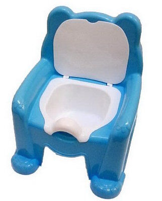 Blue Teddy Bear Kids Potty Seat Chair With Removable  Lid For Both Boy/Girl&Boys