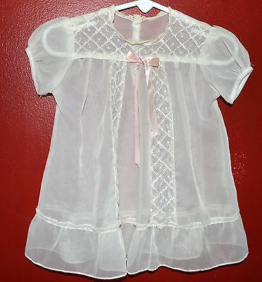 VINTAGE NYLON CHRISTENING GOWN 1950s PINK BOWS LACE & EMBROIDERY  PRETTY!