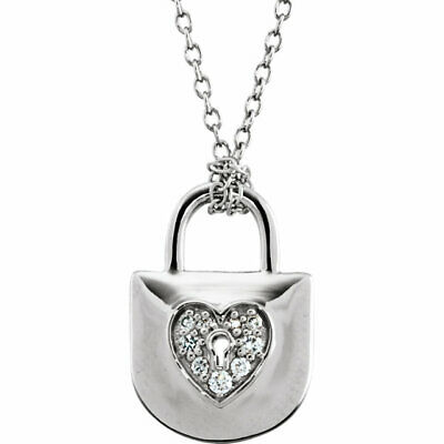"""Diamond Heart Lock 18"""" Necklace In Sterling Silver (1/10 ct. tw.)"""