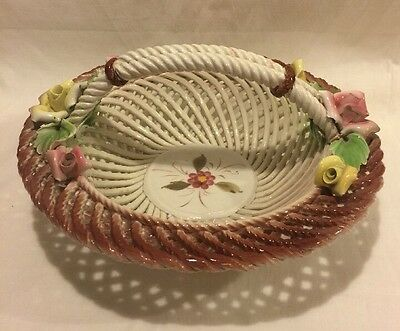 Capodimonte Style Porcelain Flowered Braided Basket Made In Italy