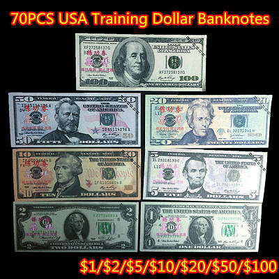 USA 70pcs/lot $100,50,20,10,5,2,1 New Dollar Training Collect Learning Banknotes