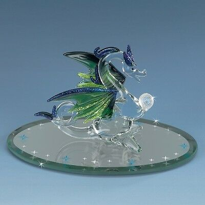 Mystic Dragon with Stars & Crystal Ball High quality hand-crafted glass figurine