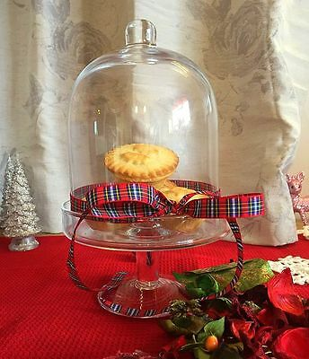 Handmade Glass 26 cm Cake Cheese Stand with dome Festive Lido Collection