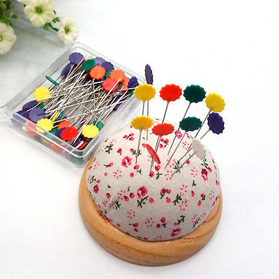 100x Sewing Accessories Patchwork Pins Flower Standing Needlework DIY Crafting