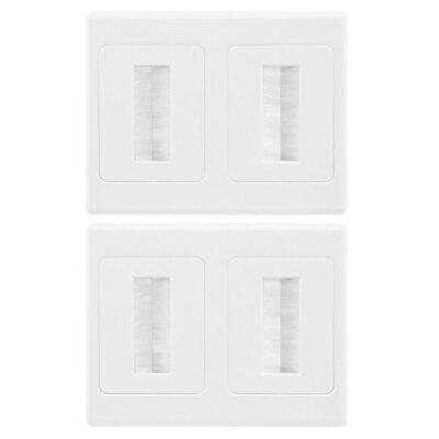 Double Gang Wall Plate Brush Wallplate Outlet Cover for Cable Lead Organiser 2PK