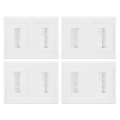 Double Gang Wall Plate Brush Wallplate Outlet Cover Cable Leads Managment 4PK