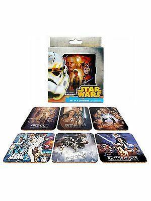 Star Wars Set of 6 Cork Backed Saga Movie Collectable Beer Drink Bar Coasters