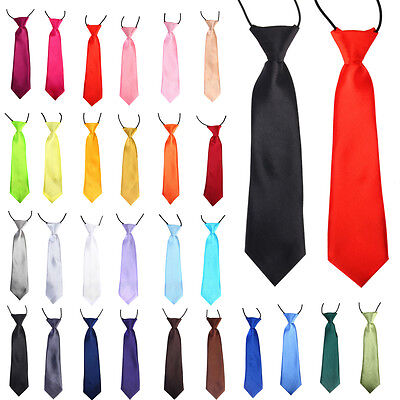 Boys Kids Children Elasticated Tied Satin Neck Ties Wedding/Party Classic Tie