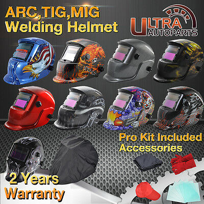 ARC TIG MIG Auto Darkening Welding Helmet Solar Powered Mask Welders Grinding UK