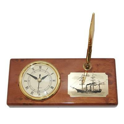 Stunning Desk Clock with engraved Antique Ship and Gold Pen  (FS-TB71092)